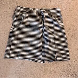 NWOT Black plaid gingham mini skirt